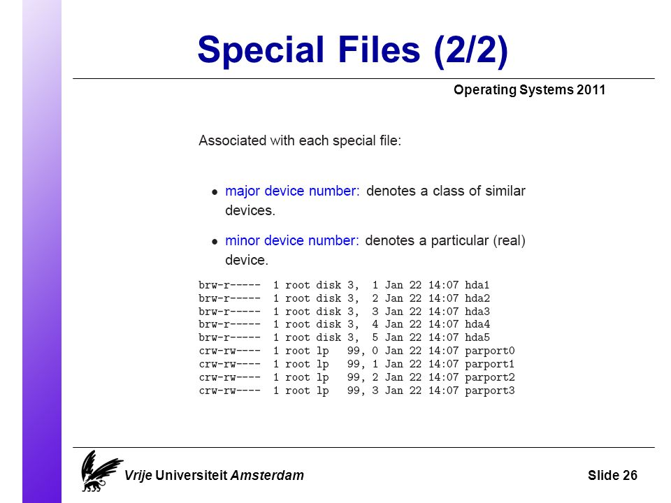 Special Files (2/2) Operating Systems 2011 Vrije Universiteit AmsterdamSlide 26