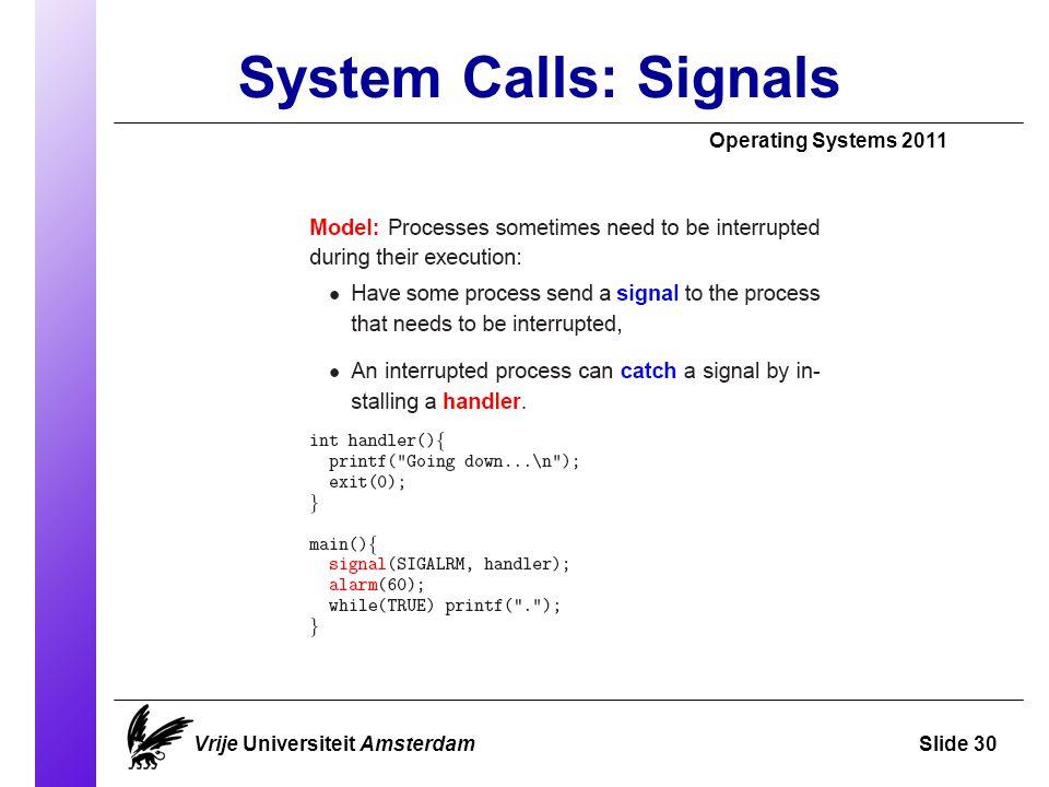 System Calls: Signals Operating Systems 2011 Vrije Universiteit AmsterdamSlide 30