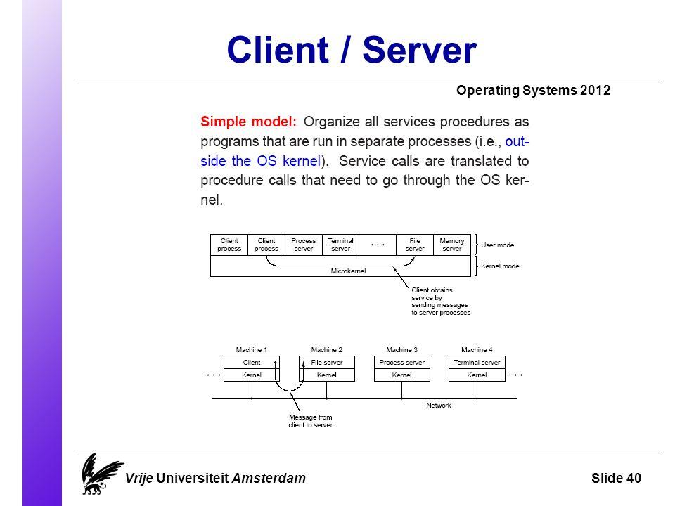 Client / Server Vrije Universiteit AmsterdamSlide 40 Operating Systems 2012