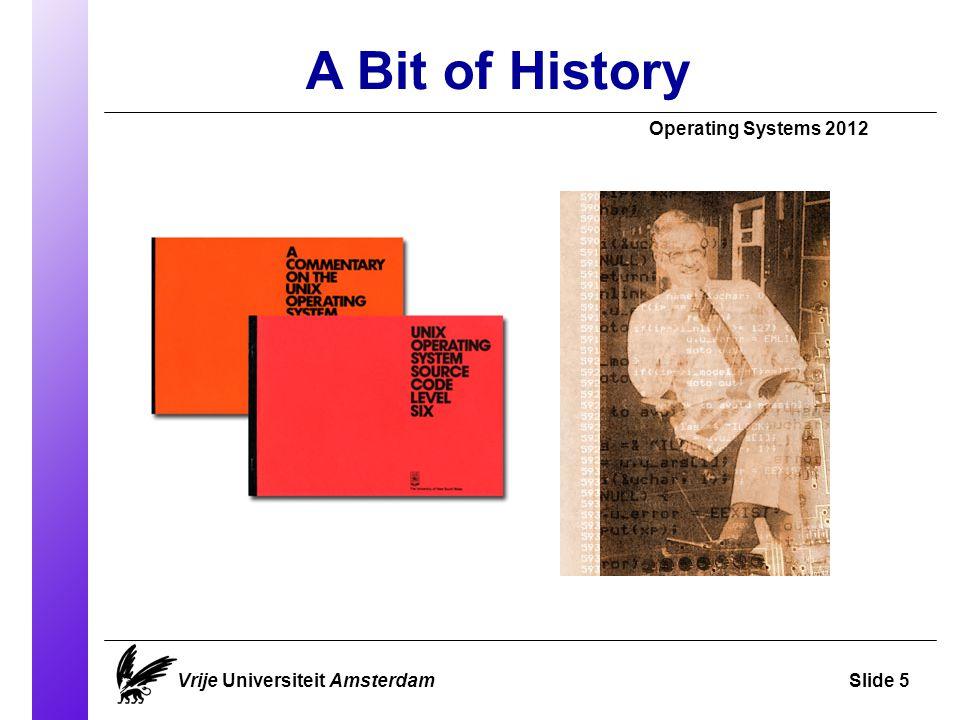 A Bit of History Vrije Universiteit AmsterdamSlide 5 Operating Systems 2012