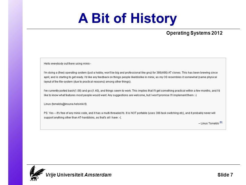 A Bit of History Vrije Universiteit AmsterdamSlide 7 Operating Systems 2012