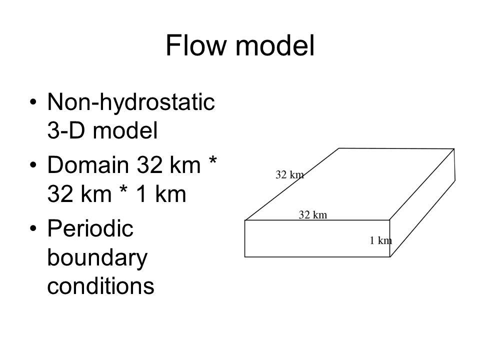 Flow model Non-hydrostatic 3-D model Domain 32 km * 32 km * 1 km Periodic boundary conditions