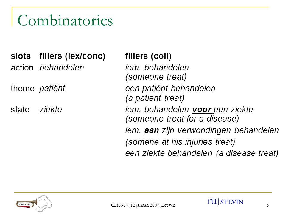 CLIN-17, 12 januari 2007, Leuven 5 Combinatorics slotsfillers (lex/conc)fillers (coll) actionbehandeleniem.