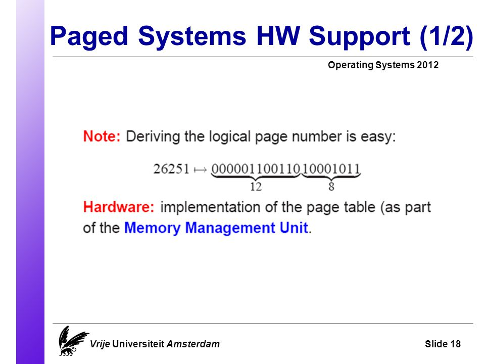 Paged Systems HW Support (1/2)‏ Operating Systems 2012 Vrije Universiteit AmsterdamSlide 18