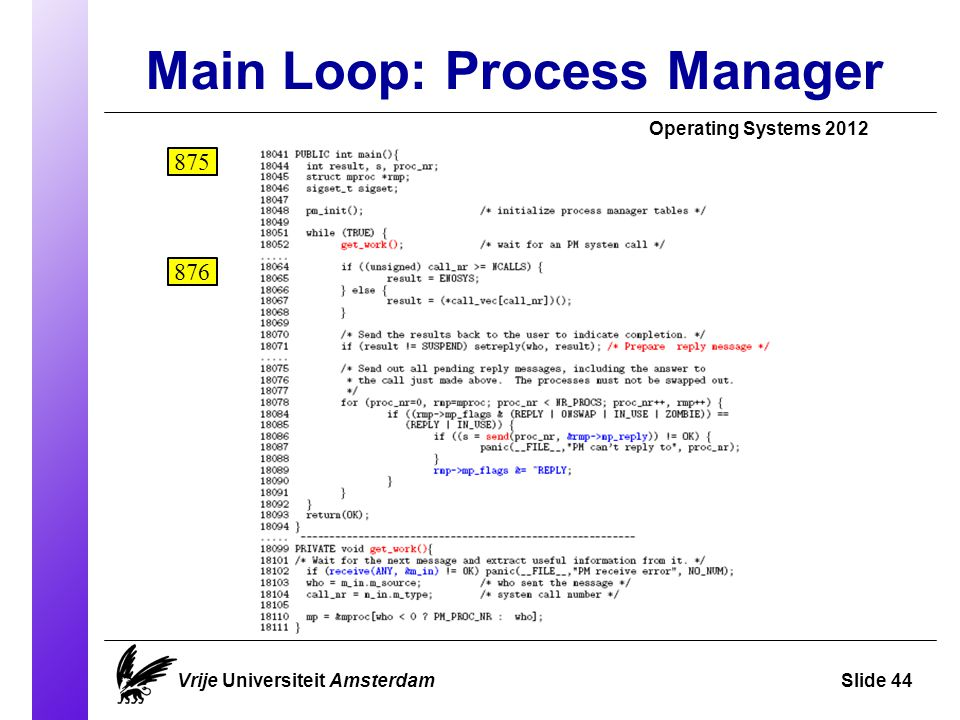 Main Loop: Process Manager Operating Systems 2012 Vrije Universiteit AmsterdamSlide 44 875 876