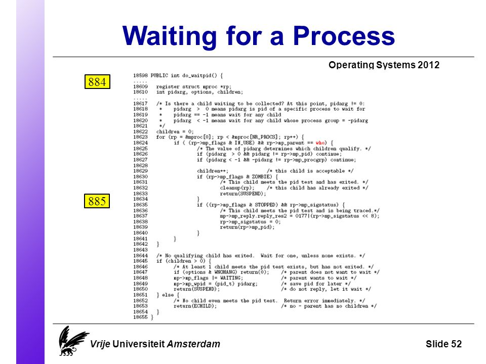 Waiting for a Process Operating Systems 2012 Vrije Universiteit AmsterdamSlide 52 884 885