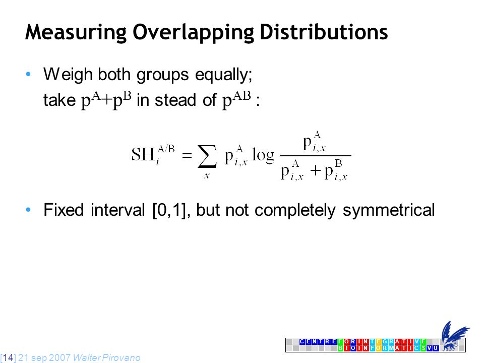 [14] 21 sep 2007 Walter Pirovano CENTRFORINTEGRATIVE BIOINFORMATICSVU E Measuring Overlapping Distributions Weigh both groups equally; take p A +p B in stead of p AB : Fixed interval [0,1], but not completely symmetrical