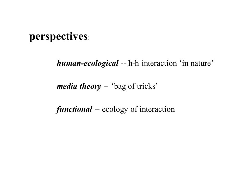 perspectives : human-ecological -- h-h interaction 'in nature' media theory -- 'bag of tricks' functional -- ecology of interaction