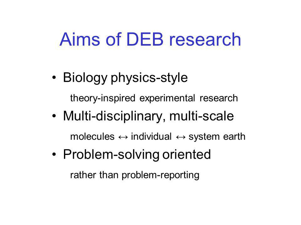 Aims of DEB research Biology physics-style theory-inspired experimental research Multi-disciplinary, multi-scale molecules ↔ individual ↔ system earth Problem-solving oriented rather than problem-reporting