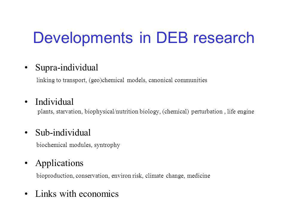 Developments in DEB research Supra-individual linking to transport, (geo)chemical models, canonical communities Individual plants, starvation, biophysical/nutrition biology, (chemical) perturbation, life engine Sub-individual biochemical modules, syntrophy Applications bioproduction, conservation, environ risk, climate change, medicine Links with economics