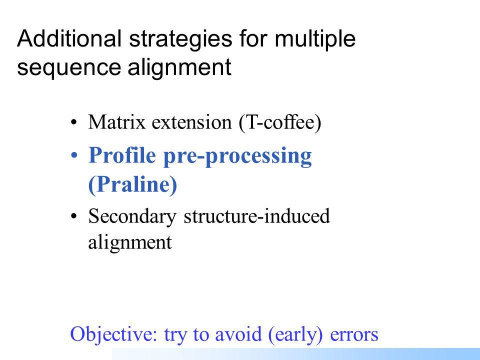 Progressive multiple alignment 1 2 1 3 4 5 Guide treeMultiple alignment Score 1-2 Score 1-3 Score 4-5 Scores Similarity matrix 5×5 Scores to distances Iteration possibilities