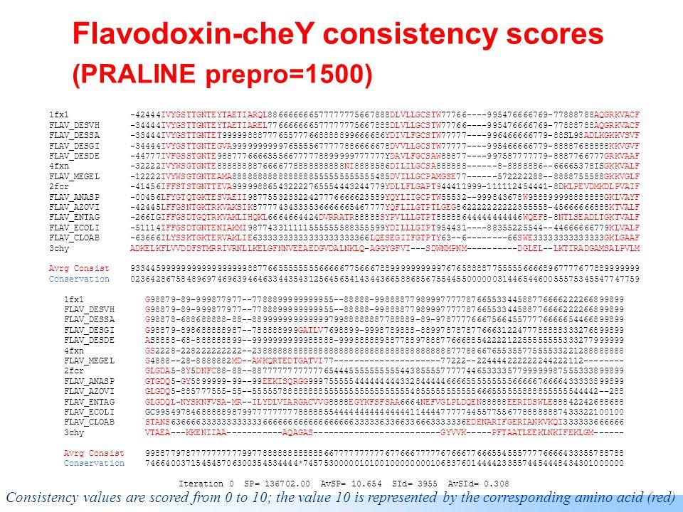 Flavodoxin-cheY consistency scores (PRALINE prepro=0) 1fx1 --7899999999999TEYTAETIARQL8776-6657777777777777553799VL999ST97775599989-435566677798998878AQGRKVACF FLAV_DESVH -46788999999999TEYTAETIAREL7777-7757777777777777553799VL999ST97775599989-435566677798998878AQGRKVACF FLAV_DESDE -47899999999999999999999988776695658888777777778763YDAVL999SAW9877789877753556666669777776789GRKVAAF FLAV_DESGI -46788999999999TEGVAEAIAKTL9997-76678888777777887539DVVL999ST987776--9889546667776697776557777888888 FLAV_DESSA 93677799999999999999999999988759765777888888888876399999999STW77765--9999536666677797998779999999999 4fxn -878779999999999999999999776666967567788888888888777999999988777776--9889577788888897773237888888888 FLAV_MEGEL 9776779999999999999999997777766-665666677788899976799999999987777669--887362334466695555455778888888 2fcr --87899999999999TEVADFIGK996541900300000112233355679DLLF99999855312888111224555555407777777888888888 FLAV_ANASP -47899LFYGTQTGKTESVAEIIR9777653922356677777777897779999999999988843--9998555778777899998879999999999 FLAV_ECOLI 997789999GSDTGNTENIAKMIQ8774222922456678889999995569999999999755553----99262225555495777767778999999 FLAV_AZOVI --79IGLFFGSNTGKTRKVAKSIK99887759657577888888999777899999999999877761112222222244555-5555555778999999 FLAV_ENTAG 94789999999999999999999998755229223234555555555555688899999998875521111111133477777-7777777999999999 FLAV_CLOAB -86999ILYSSKTGKTERVAK9997555555057678887888887777765778899998522223--9888342234455597777777777777777 3chy 0122222223333335666665555555222922222222222221112163335555755553222888877674533344493332222222222222 Avrg Consist 8667778888888889999999998776554844455566666666665557888888888766544887666334445566586666556778888888 Conservation 0125538675848969746963946463343045244355446543473516658868567554455000000314365446505575435547747759 1fx1 G888799955555559888888888899777----7777797787787978---555555566776555677777778888799------ FLAV_DESVH G888799955555559888888888899777----7777797787787978---5555555667765