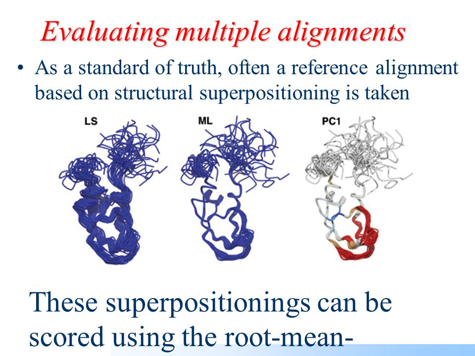 Evaluating multiple alignments There are reference databases based on structural information: e.g.