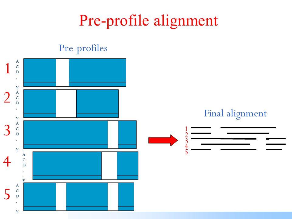 Pre-profile generation 1 2 1 3 4 5 Score 1-2 Score 1-3 Score 4-5 ACD..YACD..Y 1 2 3 4 5 1 ACD..YACD..Y 2 1 3 4 5 2 Pre-profiles Pre-alignments 5 1 2 3