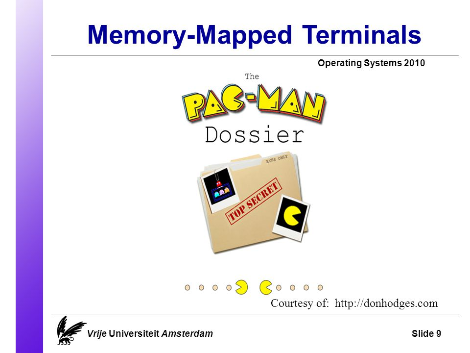 Memory-Mapped Terminals Operating Systems 2010 Vrije Universiteit AmsterdamSlide 9 Courtesy of: http://donhodges.com