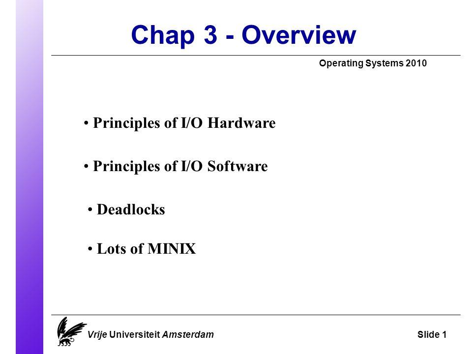 Input / Output Operating Systems 2010 Vrije Universiteit AmsterdamSlide 2