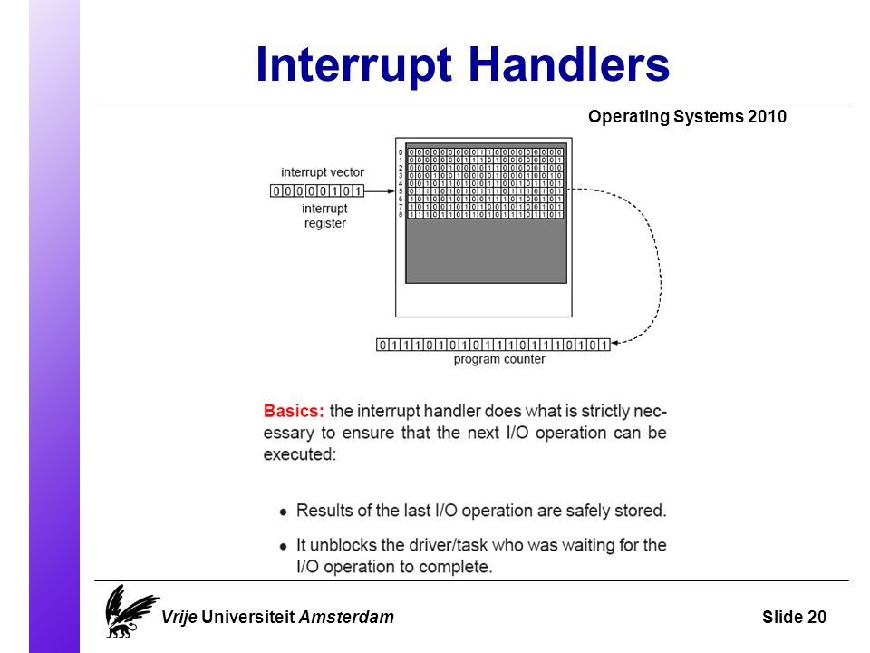 Interrupt Handlers Operating Systems 2010 Vrije Universiteit AmsterdamSlide 20