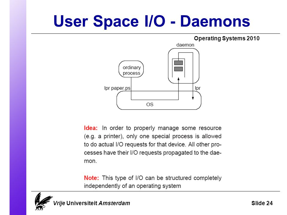 User Space I/O - Daemons Operating Systems 2010 Vrije Universiteit AmsterdamSlide 24