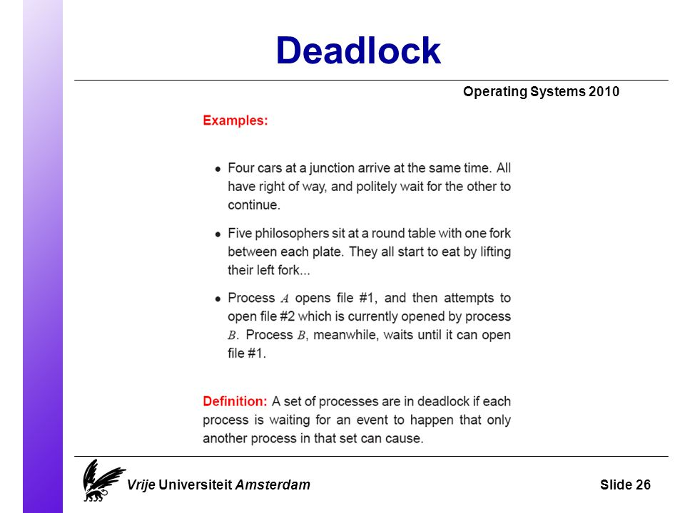 Deadlock Operating Systems 2010 Vrije Universiteit AmsterdamSlide 26