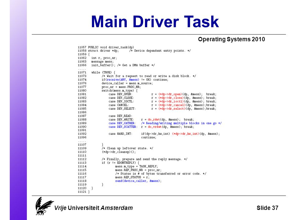 Main Driver Task Operating Systems 2010 Vrije Universiteit AmsterdamSlide 37
