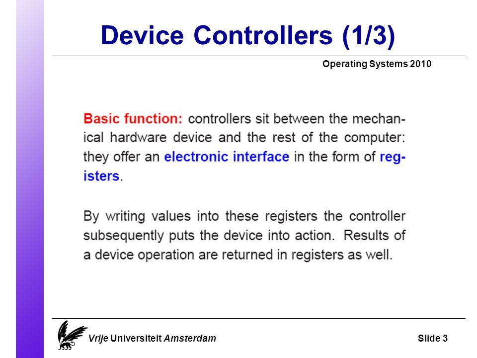 Disks – Error Handling (1/2) Operating Systems 2010 Vrije Universiteit AmsterdamSlide 44