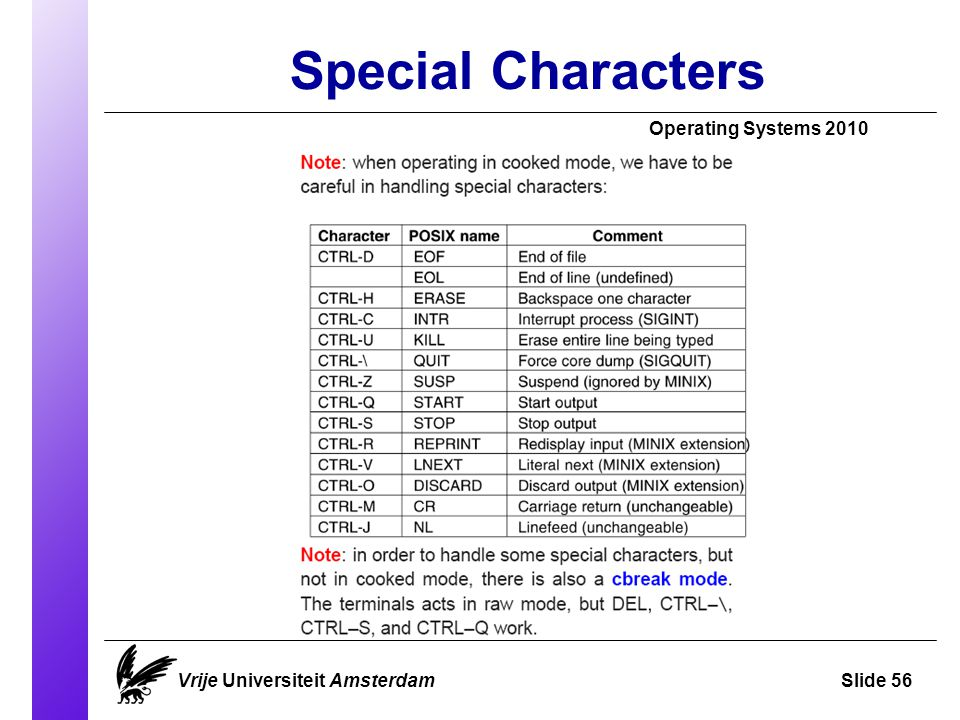 Special Characters Operating Systems 2010 Vrije Universiteit AmsterdamSlide 56