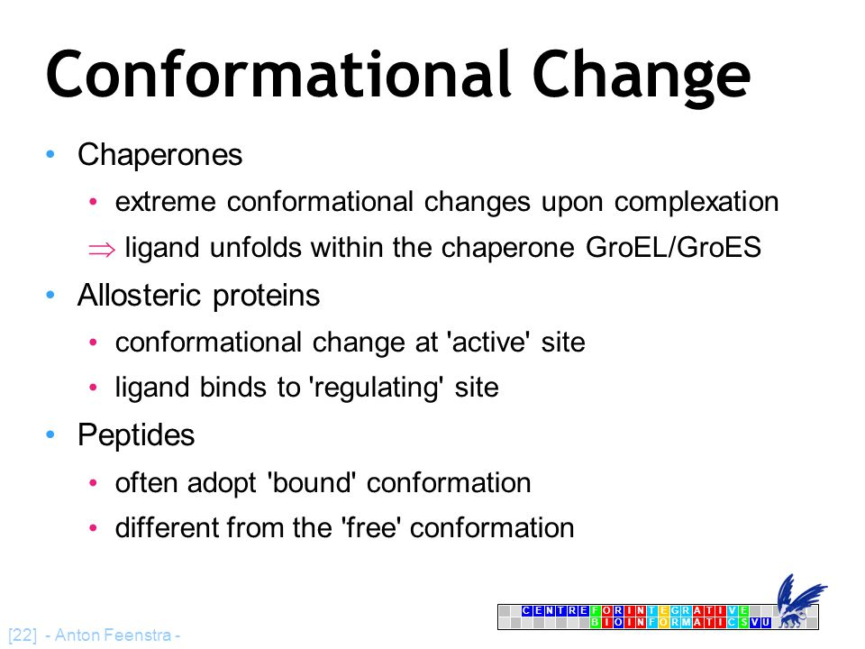 CENTRFORINTEGRATIVE BIOINFORMATICSVU E [22] - Anton Feenstra - Conformational Change Chaperones extreme conformational changes upon complexation  lig