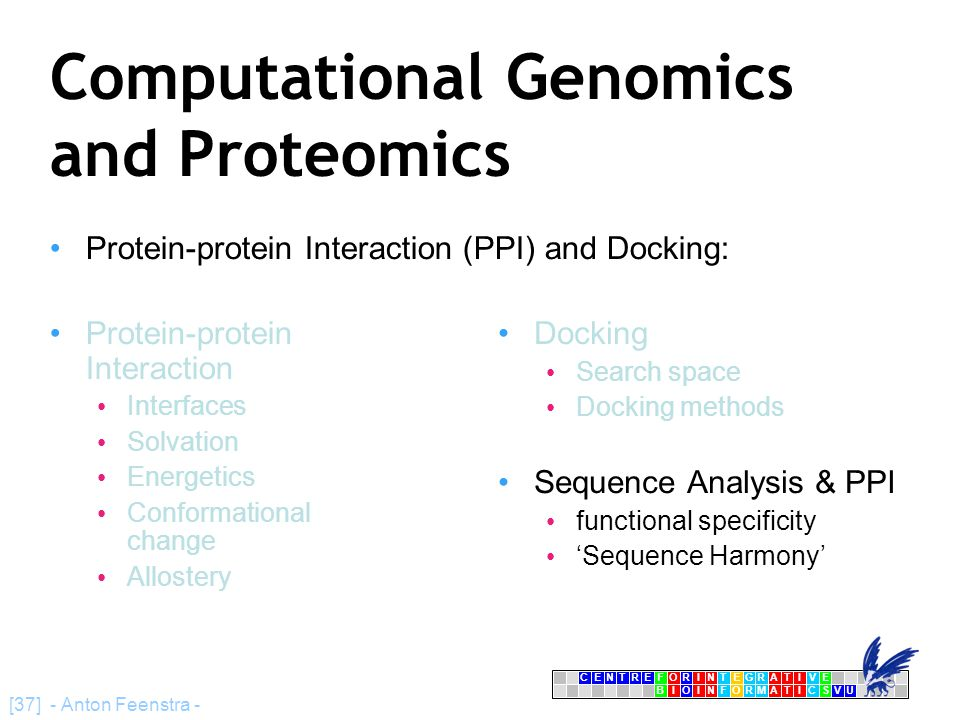 CENTRFORINTEGRATIVE BIOINFORMATICSVU E [37] - Anton Feenstra - Computational Genomics and Proteomics Protein-protein Interaction (PPI) and Docking: Pr