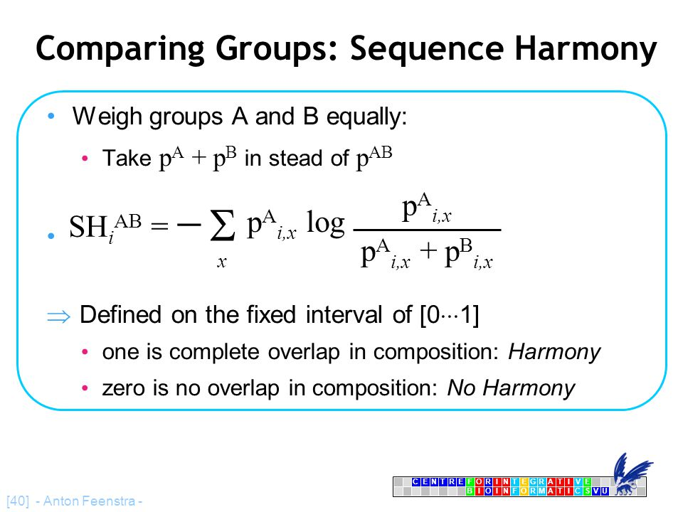 CENTRFORINTEGRATIVE BIOINFORMATICSVU E [40] - Anton Feenstra - Comparing Groups: Sequence Harmony Weigh groups A and B equally: Take p A + p B in stead of p AB  Defined on the fixed interval of [0  1] one is complete overlap in composition: Harmony zero is no overlap in composition: No Harmony x p A i,x + p B i,x p A i,x log  SH i AB =  p A i,x