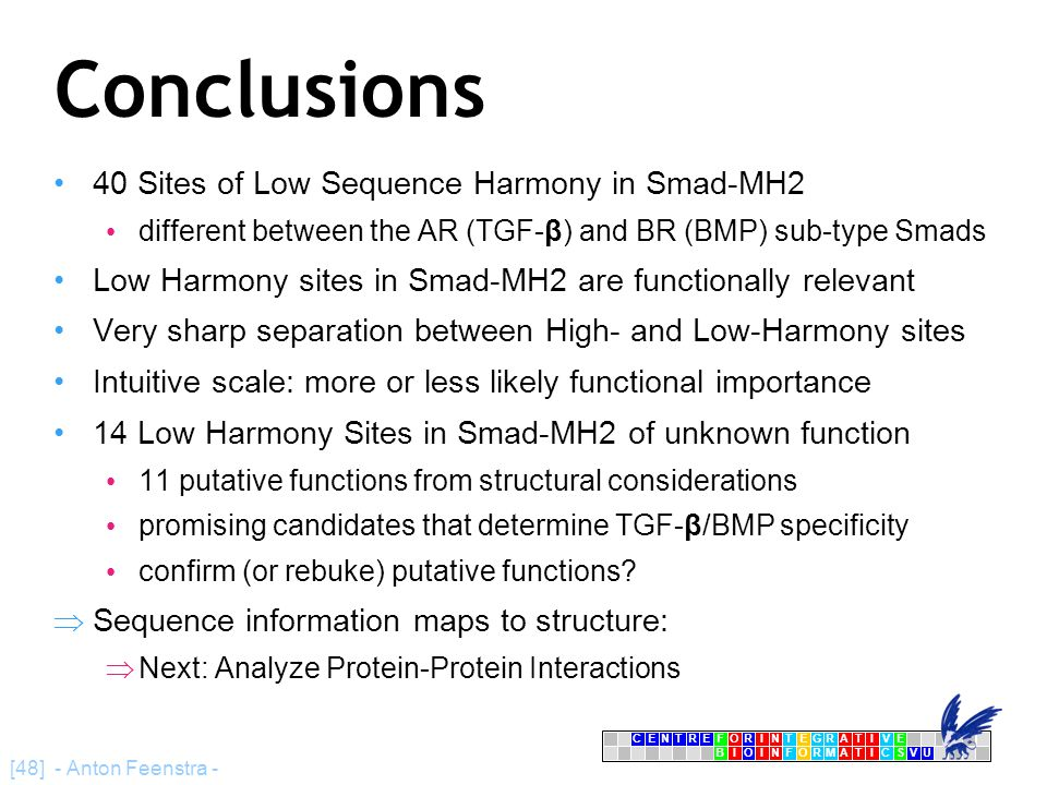 CENTRFORINTEGRATIVE BIOINFORMATICSVU E [48] - Anton Feenstra - Conclusions 40 Sites of Low Sequence Harmony in Smad-MH2 different between the AR (TGF-