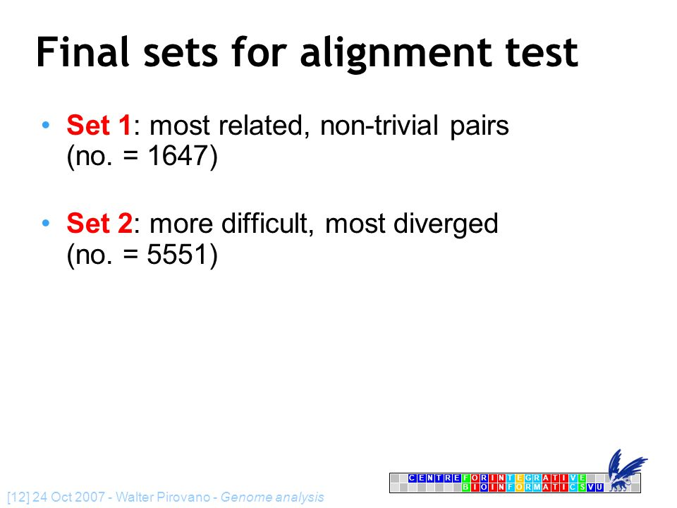 CENTRFORINTEGRATIVE BIOINFORMATICSVU E [12] 24 Oct 2007 - Walter Pirovano - Genome analysis Final sets for alignment test Set 1: most related, non-trivial pairs (no.