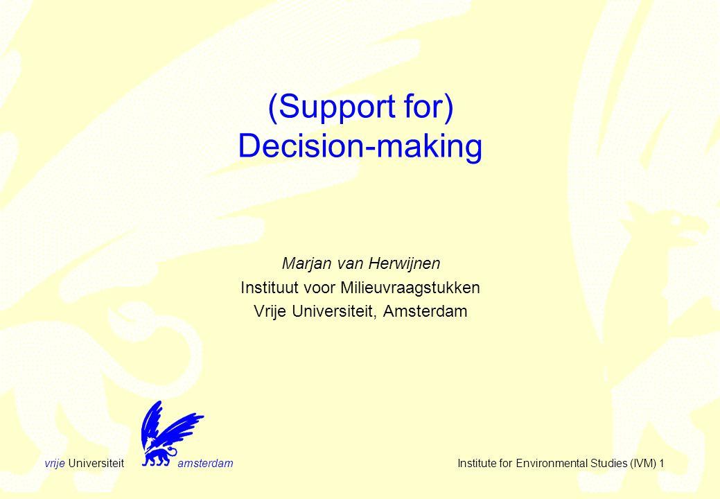 vrije Universiteit amsterdam Institute for Environmental Studies (IVM) 12 Step by step or simultaneous  Alternatives 1.