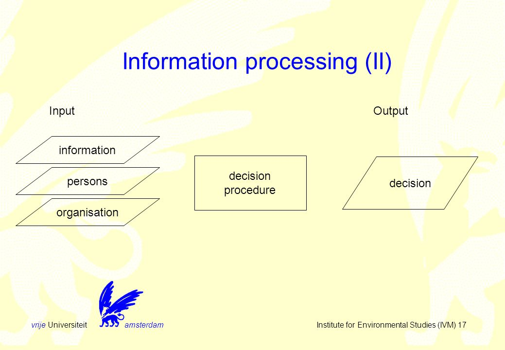vrije Universiteit amsterdam Institute for Environmental Studies (IVM) 17 Information processing (II) InputOutput decision procedure decision information persons organisation