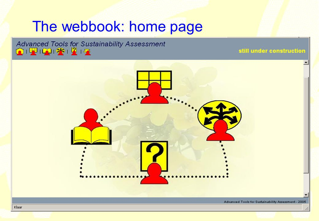 vrije Universiteit amsterdam Institute for Environmental Studies (IVM) 21 The webbook: home page