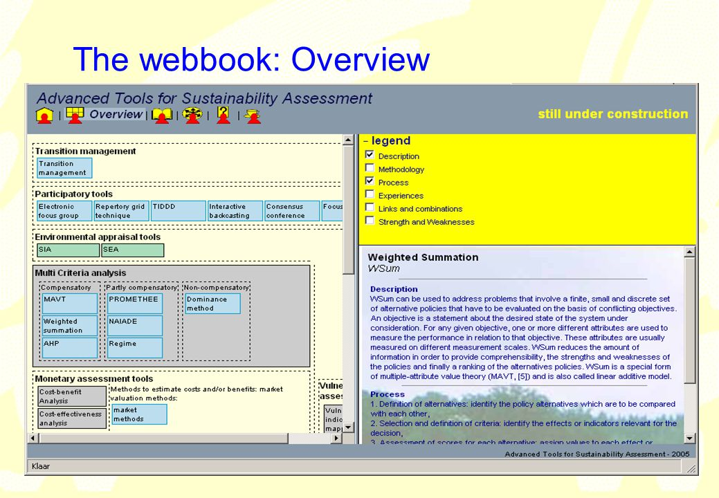 vrije Universiteit amsterdam Institute for Environmental Studies (IVM) 22 The webbook: Overview