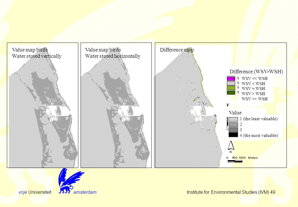 vrije Universiteit amsterdam Institute for Environmental Studies (IVM) 49 Value map birds Water stored vertically Value map birds Water stored horizontally Difference map Difference (WSV-WSH) WSV << WSH WSV < WSH WSV = WSH WSV > WSH WSV >> WSH Value 1 (the least valuable) 2 3 4 (the most valuable)