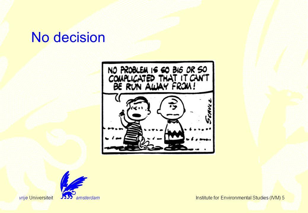 vrije Universiteit amsterdam Institute for Environmental Studies (IVM) 16 Information processing (I) information InputOutput decision procedure decision