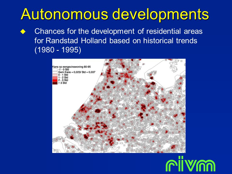  Chances for the development of residential areas for Randstad Holland based on historical trends (1980 - 1995) Autonomous developments