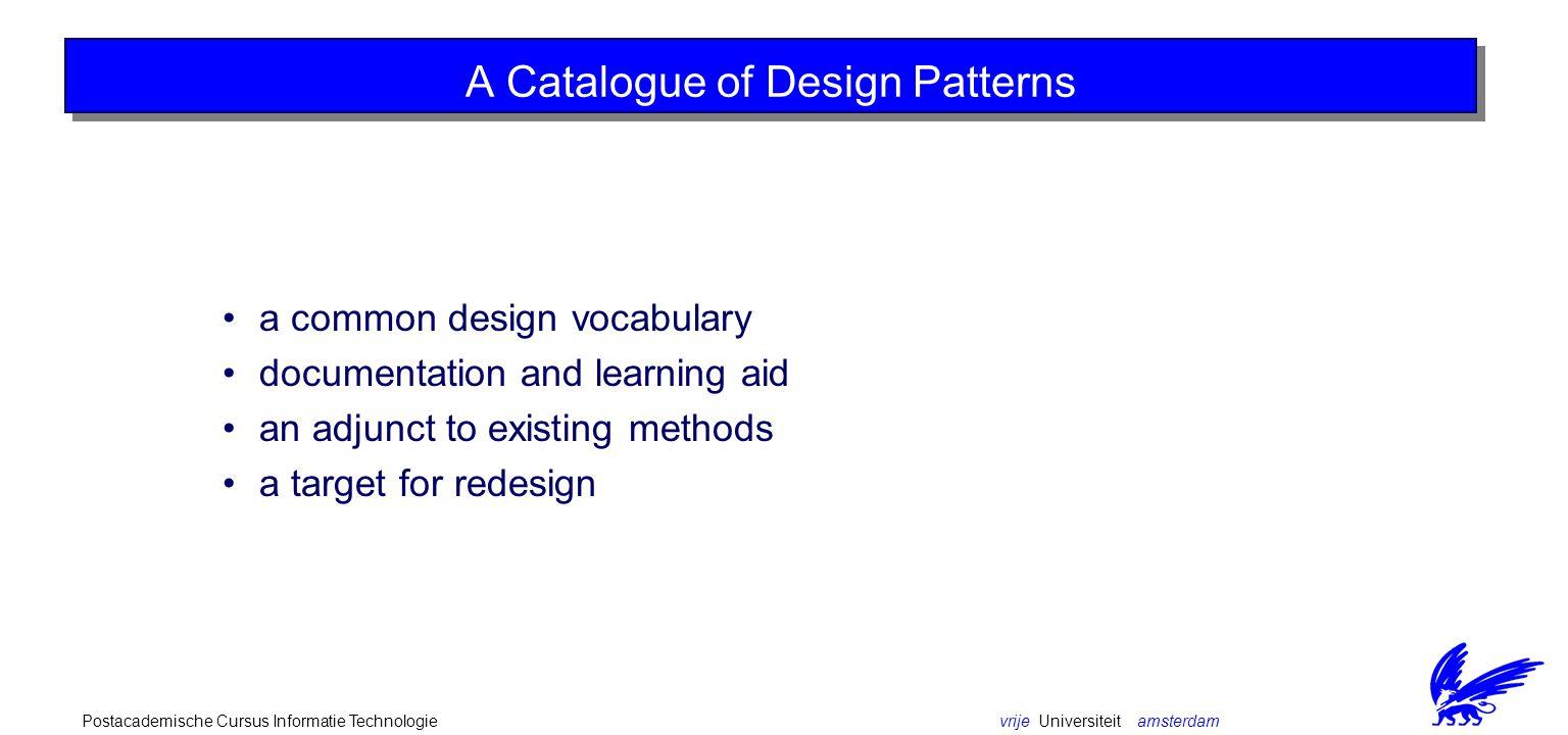 vrije Universiteit amsterdamPostacademische Cursus Informatie Technologie A catalogue of design patterns Subsections: Creational Patterns Structural Patterns Behavioral Patterns