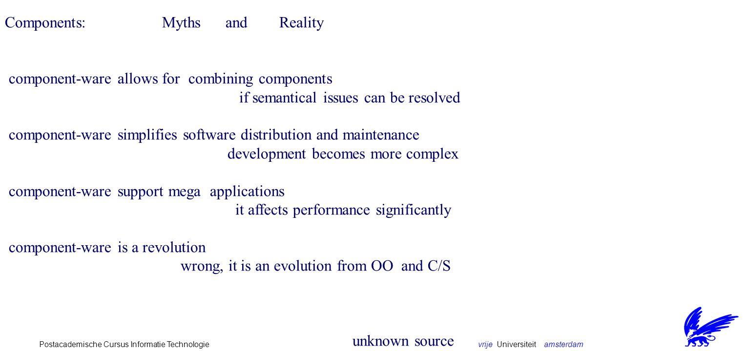 vrije Universiteit amsterdamPostacademische Cursus Informatie Technologie The technology matrix distribution mobility language platform reflection COM - - * - +/- DCOM + - * +/- +/- CORBA + - * * +/- Java/Beans - classes Java * + Java/RMI + classes Java * + Voyager + objects Java * +
