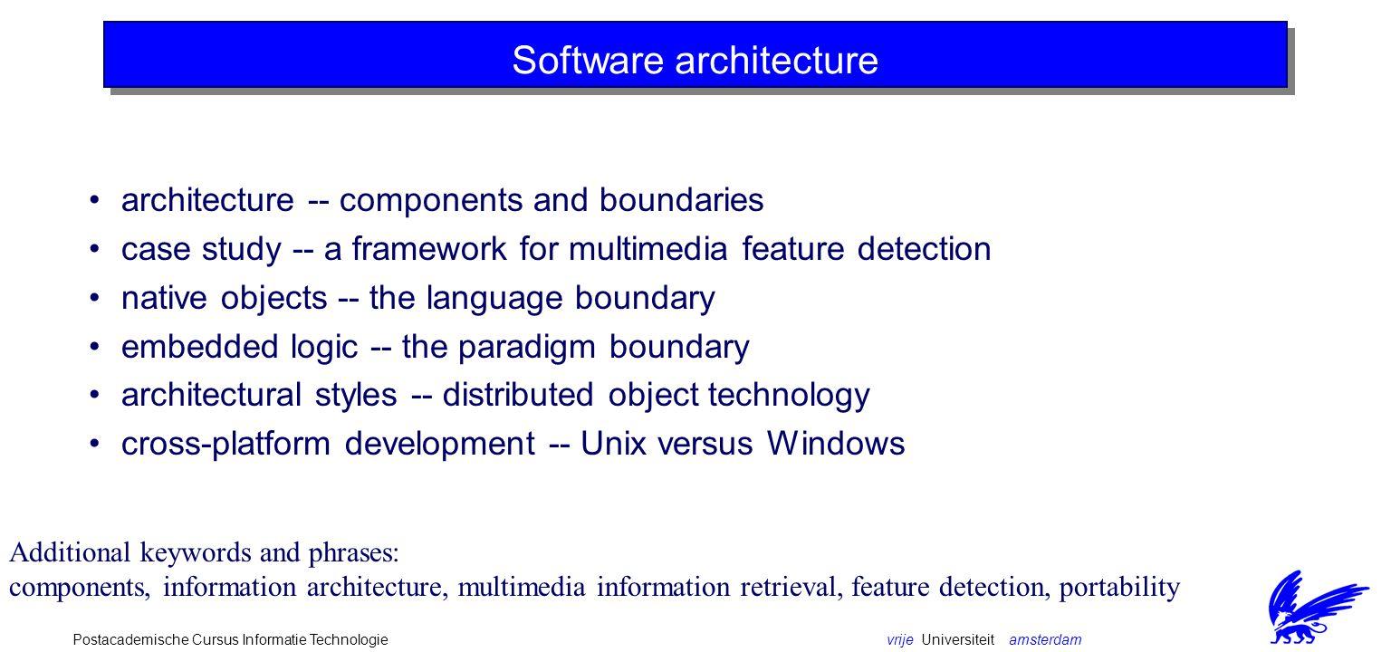 vrije Universiteit amsterdamPostacademische Cursus Informatie Technologie Component Questions How to describe the interaction between components.