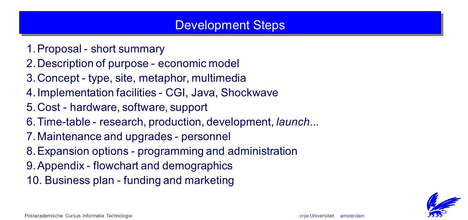 vrije Universiteit amsterdamPostacademische Cursus Informatie Technologie Issues in Concept Development Choose a name! Choose a class - micro or macro