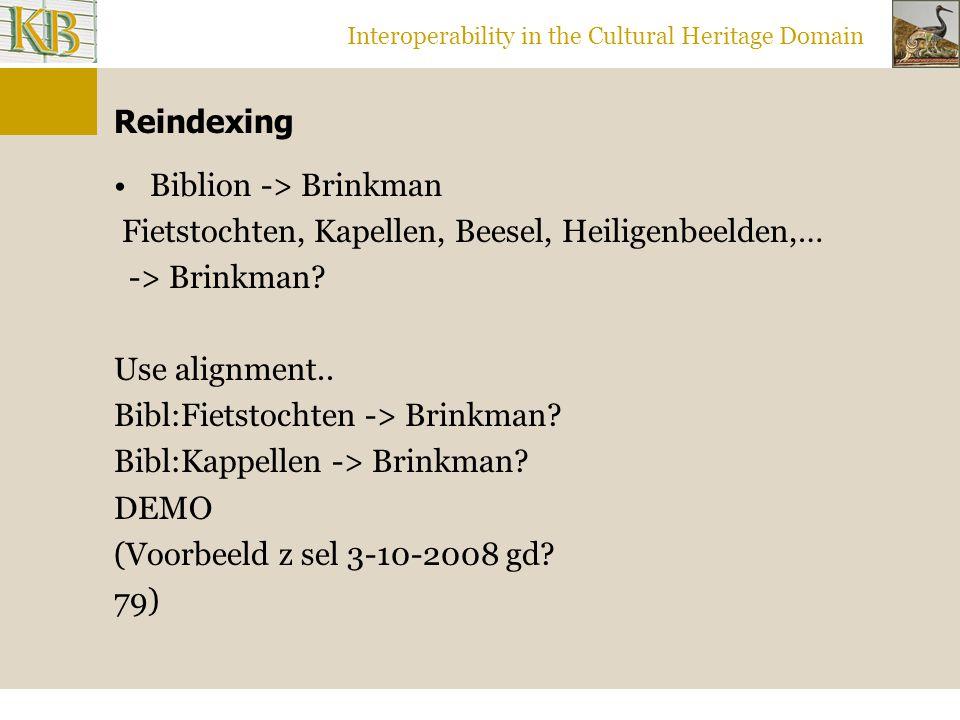 Interoperability in the Cultural Heritage Domain Reindexing Biblion -> Brinkman Fietstochten, Kapellen, Beesel, Heiligenbeelden,… -> Brinkman.