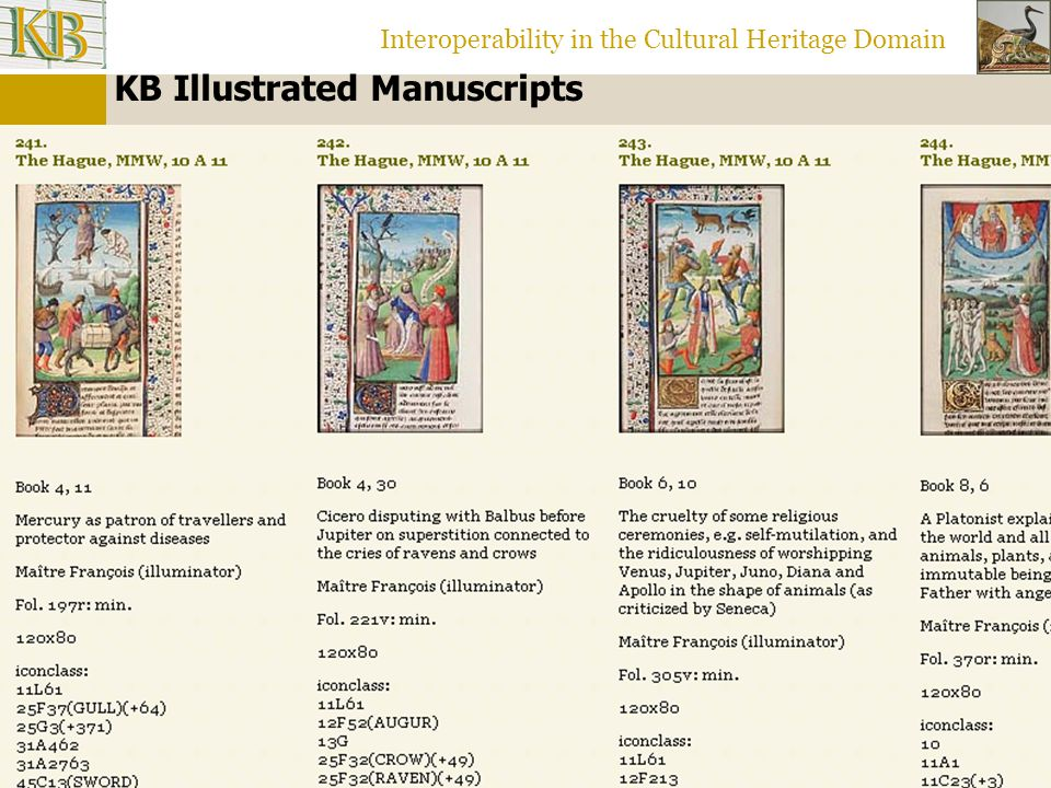 Interoperability in the Cultural Heritage Domain KB Illustrated Manuscripts: Iconclass