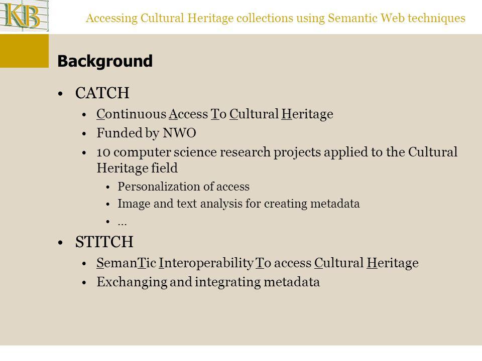 Accessing Cultural Heritage collections using Semantic Web techniques SKOS: Brinkman Trefwoorden (KB) skos: = http://www.w3.org/2004/02/skos/core# bk: = http://www.kb.nl/brinkman/