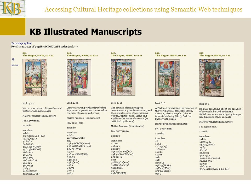 Accessing Cultural Heritage collections using Semantic Web techniques KB Illustrated Manuscripts