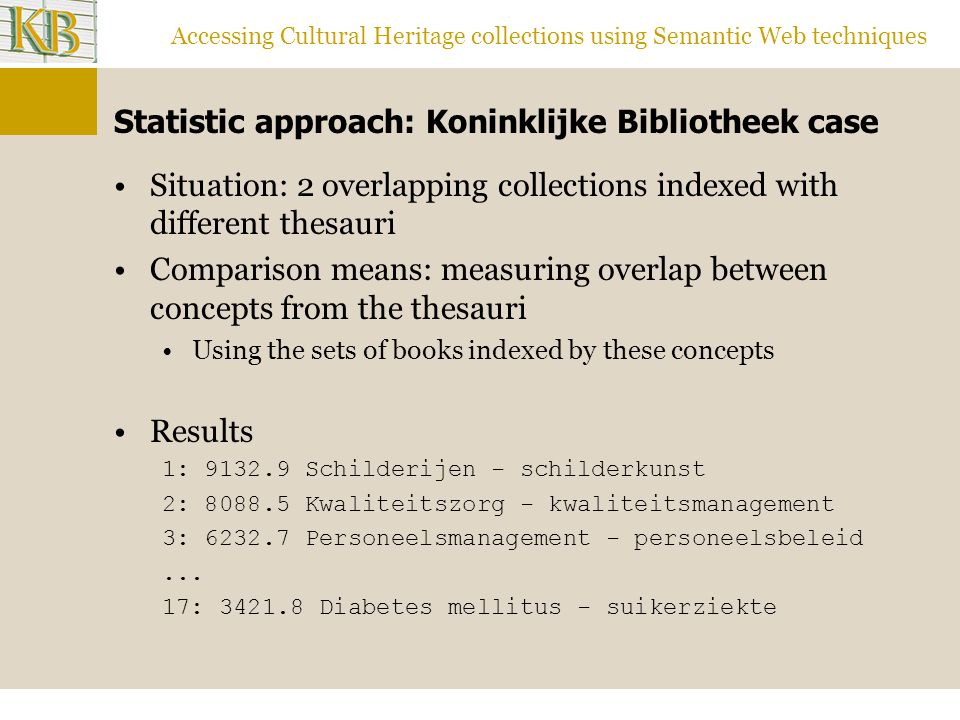 Accessing Cultural Heritage collections using Semantic Web techniques Statistic approach: Koninklijke Bibliotheek case Situation: 2 overlapping collections indexed with different thesauri Comparison means: measuring overlap between concepts from the thesauri Using the sets of books indexed by these concepts Results 1: Schilderijen - schilderkunst 2: Kwaliteitszorg - kwaliteitsmanagement 3: Personeelsmanagement - personeelsbeleid...
