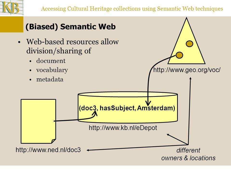 Accessing Cultural Heritage collections using Semantic Web techniques Links Semantic Web at Vrije Universiteit http://www.cs.vu.nl/ai/kr/ http://www.cs.vu.nl/bi/ SKOS http://www.w3.org/2004/02/skos/ Other Cultural Heritage and Semantic Web projects MuseumFinland, http://www.museosuomi.fi/http://www.museosuomi.fi/ eCulture,http://e-culture.multimedian.nl/http://e-culture.multimedian.nl/