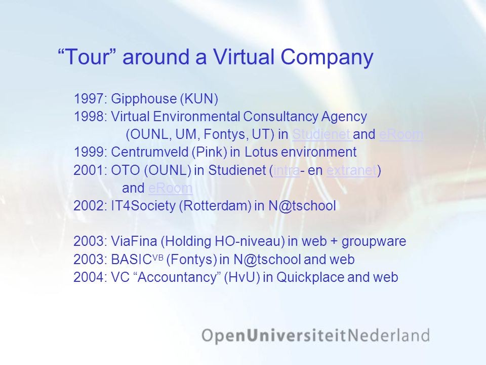 Tour around a Virtual Company 1997: Gipphouse (KUN) 1998: Virtual Environmental Consultancy Agency (OUNL, UM, Fontys, UT) in Studienet and eRoomStudienet eRoom 1999: Centrumveld (Pink) in Lotus environment 2001: OTO (OUNL) in Studienet (intra- en extranet)intraextranet and eRoomeRoom 2002: IT4Society (Rotterdam) in N@tschool 2003: ViaFina (Holding HO-niveau) in web + groupware 2003: BASIC VB (Fontys) in N@tschool and web 2004: VC Accountancy (HvU) in Quickplace and web