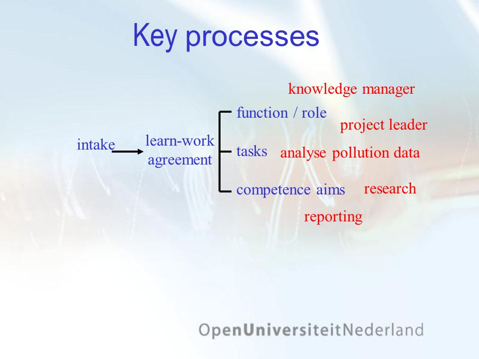 intake learn-work agreement Key processes function / role tasks competence aims project leader knowledge manager analyse pollution data reporting research